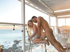 Interracial sunset screw mixed couple fantastic sexual intercourse on the porch