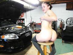 Female Partner anal shagged in the car garage