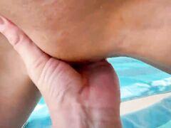 Secret sexual intercourse in a beach baldachin with delicious Russian woman