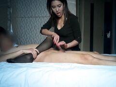 Hidden camera privately filming sweet Asian escort shagging client